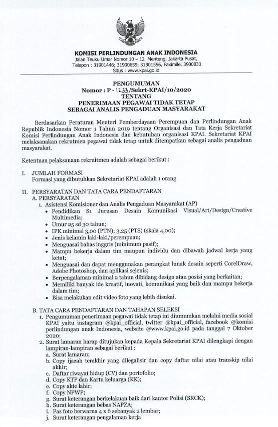 Lowongan Kerja KPAI Bulan Oktober 2020