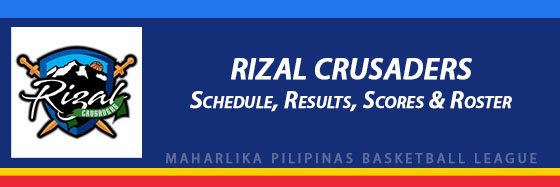 MPBL: Rizal Crusaders Schedule, Results, Scores, Roster