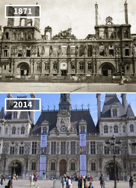 Antes y después Ayuntamiento de París