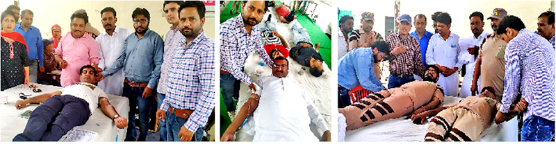 53 units blood donation, 112 patients health checkup by volunteers of DSS in kikarkheda, Punjab.