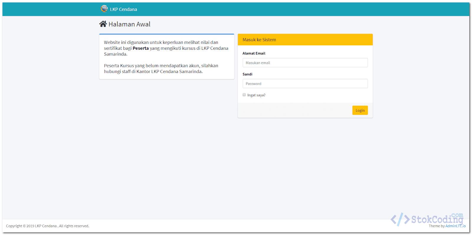 Sistem Adminisitrasi Peserta Kursus Berbasis Web (Laravel)