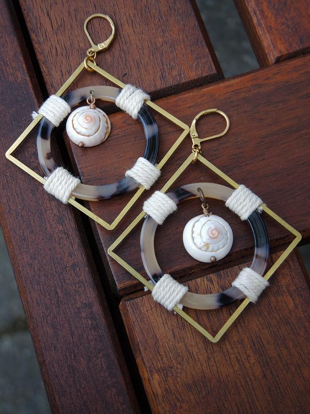 DIY oorbellen 'de schildpad en de slak'/earrings 'the snail and the turtle'