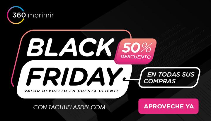 Personaliza tu material impreso al 50 % con el black friday de 360imprimir ,precio mas bajo garantizado.