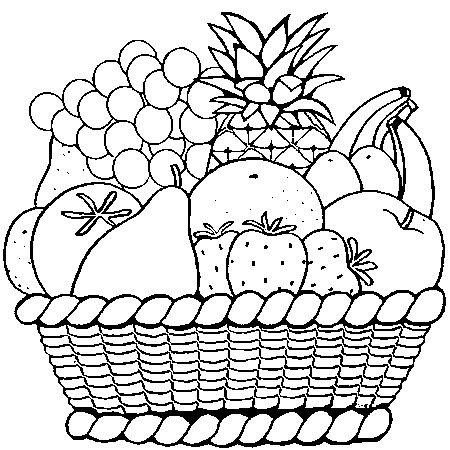 Hình tô màu lẵng hoa quả cho bé