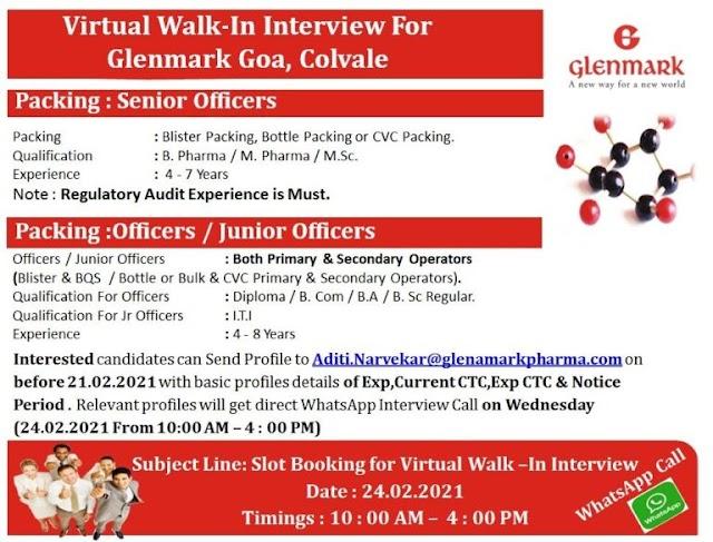 Glenmark Pharma   Virtual Walk-in for Packing at Goa on 24th Feb 2021   Apply before 21st Feb 2021