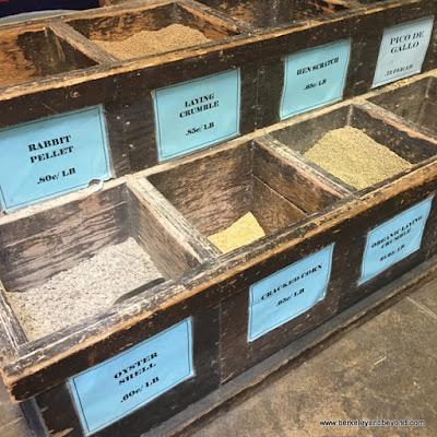 feed bins at Half Moon Bay Feed and Fuel In Half Moon Bay, California