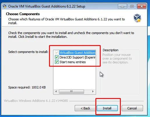 Choose Component Install VBox Guest