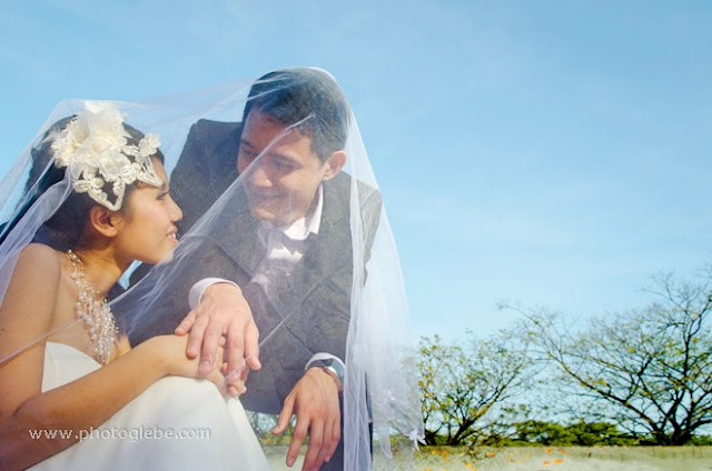 veil covering their heads, wedding photo