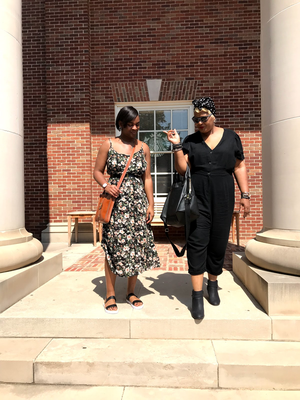 Image: tangie Bell and daughter Kamoriae leaving the campus after enjoying a full tour before starting Texas Womens University