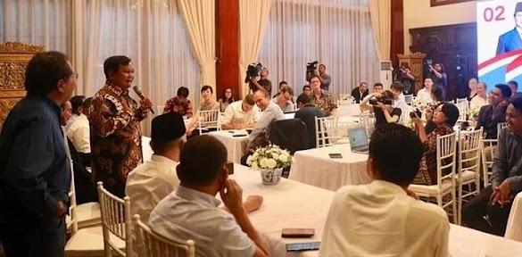 Undang Media Asing, Prabowo Paparkan Dugaan Kecurangan Pemilu 2019