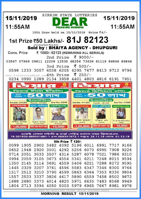 Lottery Sambad 15-11-2019 Sikkim State Lottery Result 11.55 AM-sambadlottery.org