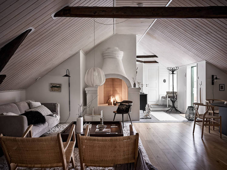 A Swedish Home With a Magnificent Fireplace!
