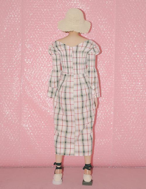 Bell Sleeve Tartan Midaxi Dress
