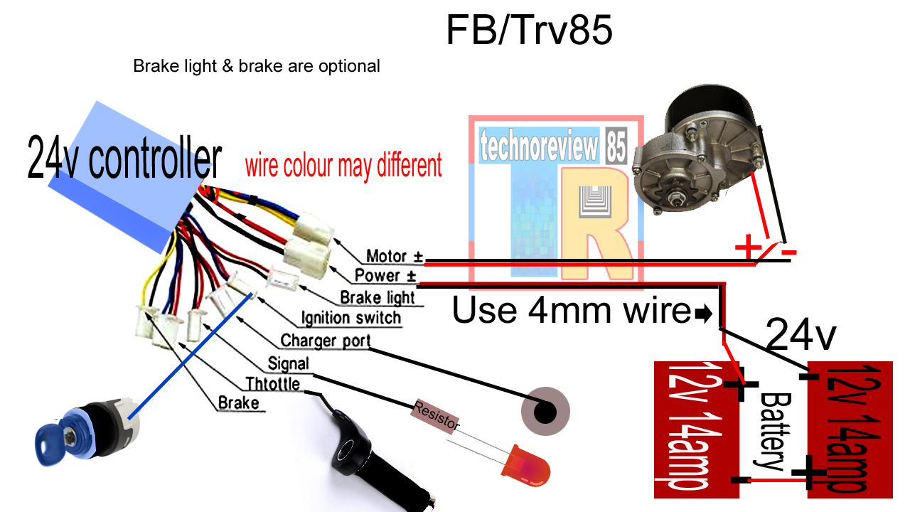 connection & wiring of 24 v electric bi cycle by techno review 85 36 volt wiring diagram it is full wiring diagram of ebike