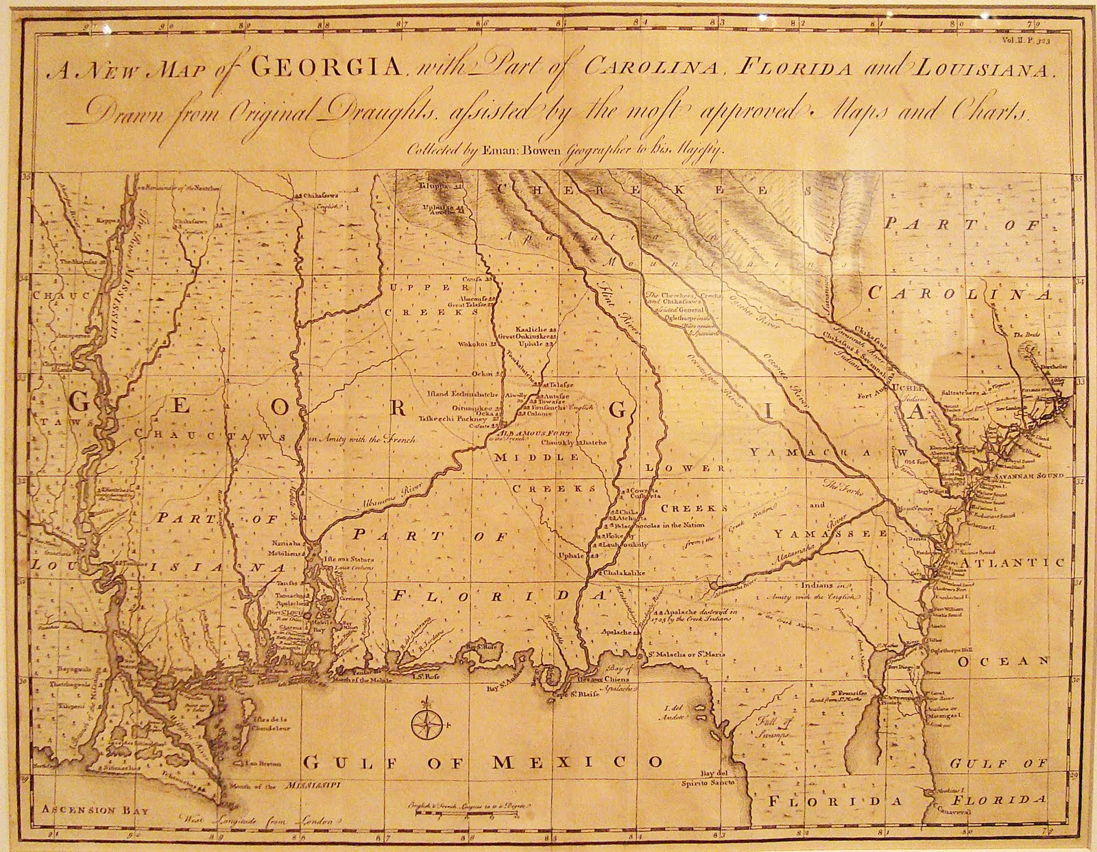 Map Of Georgia Colony.A New Map Of Georgia 1748 Emanuel Bowen Trail Of The Trail