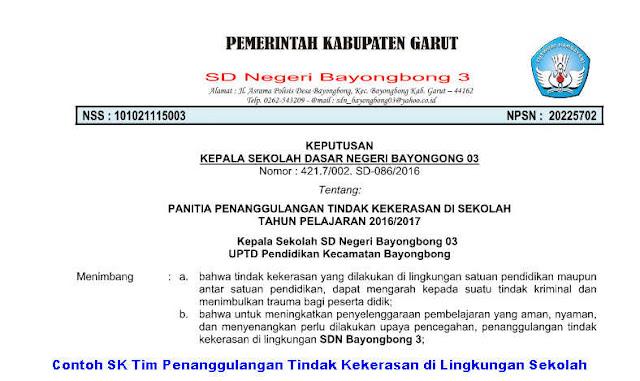 SK Tim Penanggulangan Tindak Kekerasan di Lingkungan Sekolah