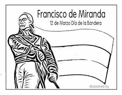 Día de la bandera de Venezuela 12 marzo para colorear