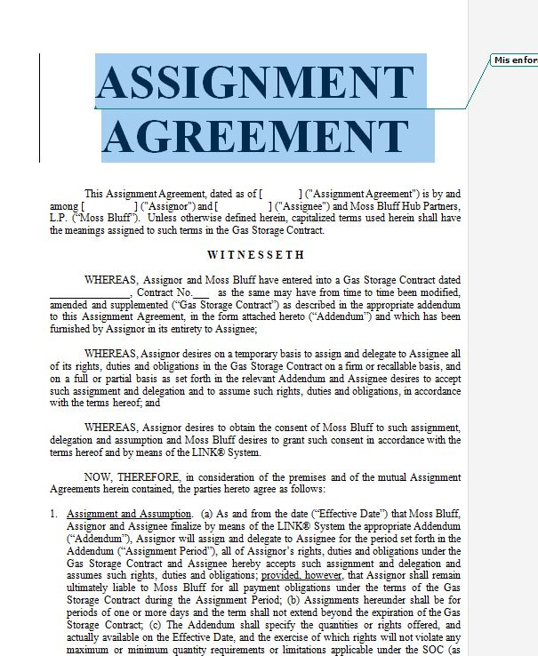 Contract Assignment Form doc and pdf Sample Contracts - Contract