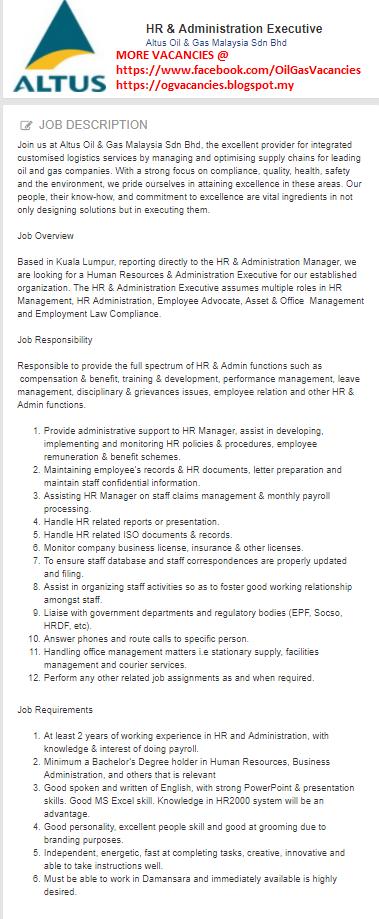 Oil &Gas Vacancies: HR & Administration Executive -Altus Oil