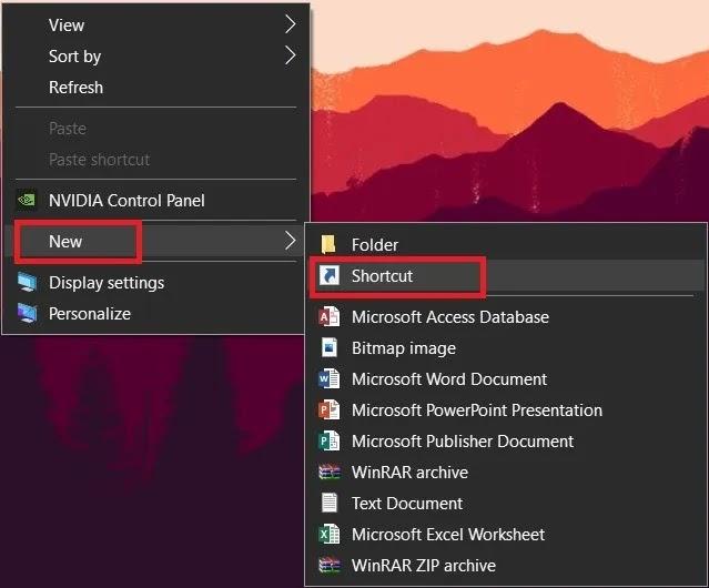اختصار سطح المكتب إيقاف تشغيل Windows 10 PC
