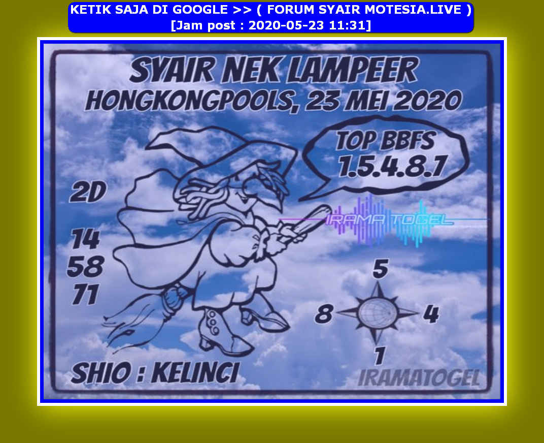 Kode syair Hongkong Sabtu 23 Mei 2020 128