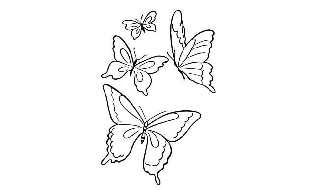 dibujos de mariposas faciles para colorear