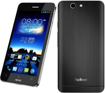 Asus PadFone Infinity 2 Specifications - LAUNCH Announced 2013, September DISPLAY Type Super IPS+ LCD capacitive touchscreen, 16M colors Size 5.0 inches (~66.0% screen-to-body ratio) Resolution 1080 x 1920 pixels (~441 ppi pixel density) Multitouch Yes, up to 10 fingers Protection Corning Gorilla Glass BODY Dimensions 143.5 x 72.8 x 8.9 mm (5.65 x 2.87 x 0.35 in) Weight 145 g (5.11 oz) SIM Nano-SIM  - Padfone Station with 10.1 inches IPS display, 1920 x 1200 pixels, 5000 mAh battery, front camera. 264.6 x 181.6 x 10.6 mm, 532 grams. PLATFORM OS Android OS, v4.2.2 (Jelly Bean), upgradable to v5.0 (Lollipop) CPU Quad-core 2.2 GHz Krait 400 Chipset Qualcomm Snapdragon 800 GPU Adreno 330 MEMORY Card slot microSD, up to 64 GB (dedicated slot) Internal 16/32 GB, 2 GB RAM CAMERA Primary 13 MP, autofocus, LED flash Secondary 2 MP, 1080p@30fps Features Geo-tagging, touch focus, face detection Video 1080p@30fps NETWORK Technology GSM / HSPA / LTE 2G bands GSM 850 / 900 / 1800 / 1900 3G bands HSDPA 850 / 900 / 1900 / 2100 4G bands LTE band 3(1800), 7(2600), 20(800) Speed HSPA 42.2/5.76 Mbps, LTE Cat4 150/50 Mbps GPRS Class 10 EDGE Class 10 COMMS WLAN Wi-Fi 802.11 a/b/g/n/ac, dual-band, Wi-Fi Direct, hotspot NFC Yes GPS Yes, with A-GPS, GLONASS USB microUSB v2.0 (SlimPort TV-out), USB Host Radio FM radio Bluetooth v4.0, A2DP FEATURES Sensors Accelerometer, gyro, proximity, compass Messaging SMS(threaded view), MMS, Email, Push Email, IM Browser HTML5 Java No SOUND Alert types Vibration; MP3, WAV ringtones Loudspeaker Yes 3.5mm jack Yes   - Active noise cancellation with dedicated mic BATTERY  Non-removable Li-Po 2400 mAh battery Stand-by Up to 410 h (3G) Talk time Up to 19 h (3G) Music play  MISC Colors Titanium Black, Platinum White  - ASUS WebStorage (50 GB storage) - MP3/WAV/eAAC+ player - MP4/H.264 player - Document viewer - Photo viewer/editor - Voice memo/dial