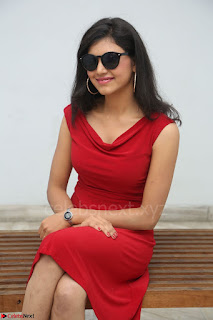 Mounika Telugu Actress in Red Sleeveless Dress Black Boots Spicy Pics 036.JPG