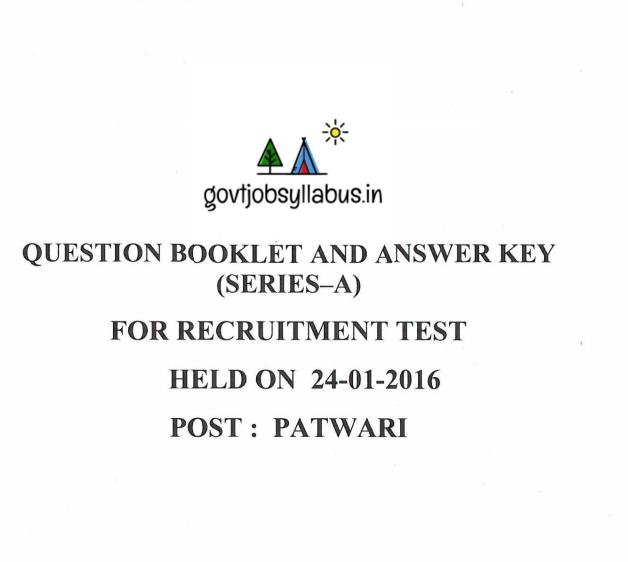 Download Punjab Patwari previous papers in PDF
