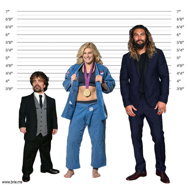 Kayla Harrison height comparison with Peter Dinklage and Jason Momoa