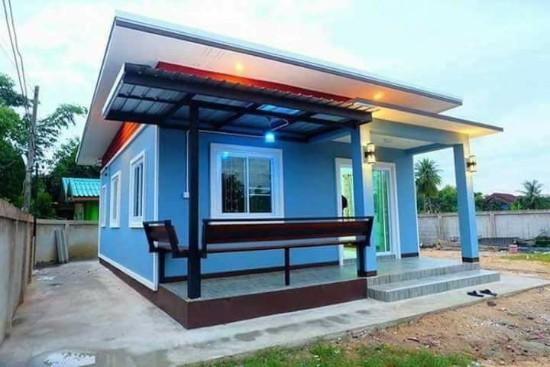 rumah minimalis kombinasi warna biru