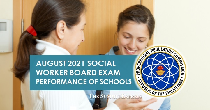 PERFORMANCE OF SCHOOLS: August 2021 Social Worker board exam results