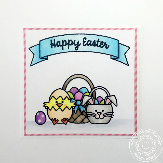Sunny Studio: A Happy Easter Card by Melissa Bowden (using A Good Egg & Sunny Borders stamps).