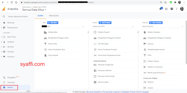 4. Tampilan Dashboard Google analytics