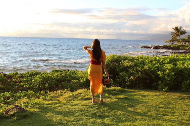 Azazie dress, yellow dress, castaner espadrilles, espadrilles, maui, hawaii, grand wailea