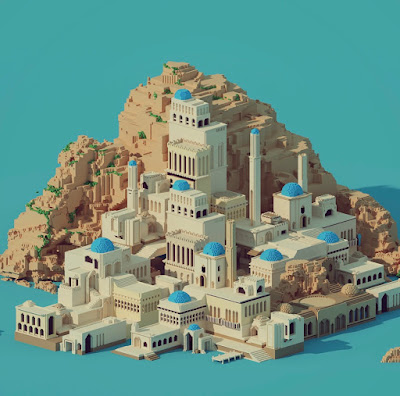 Voxel Island Town by the Se