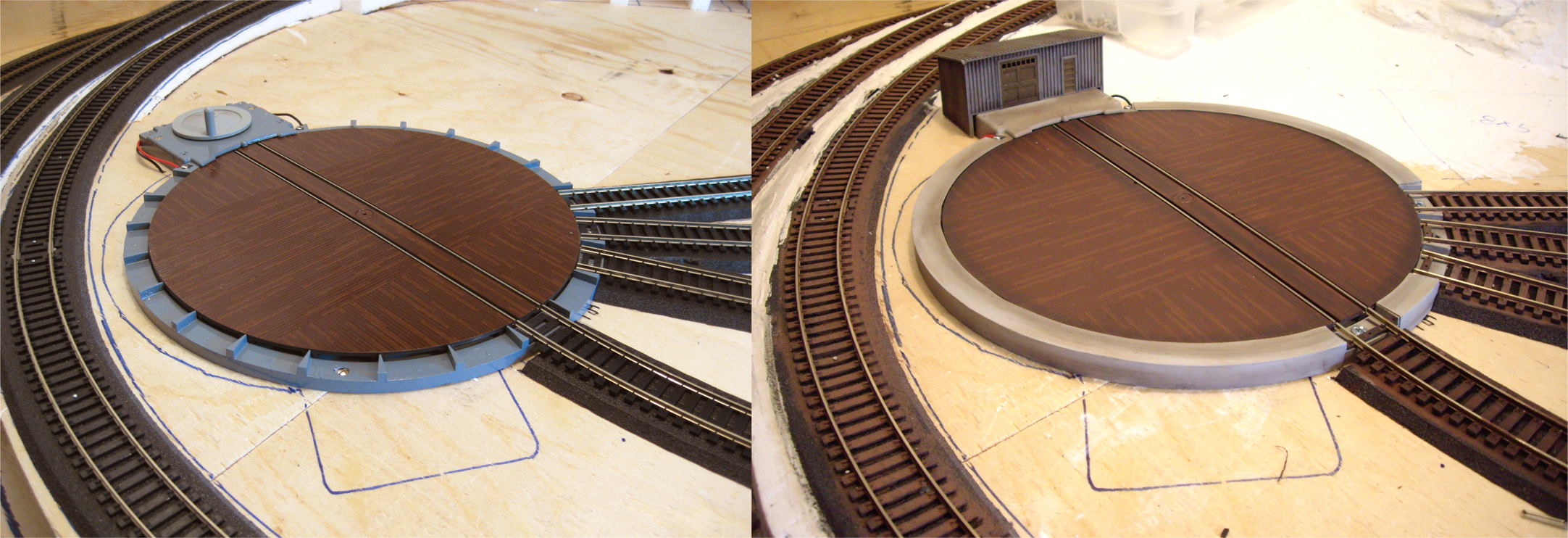 Before and after photo depicting an Atlas turn table prior to and after having its base modified and painted to look like a concrete slab