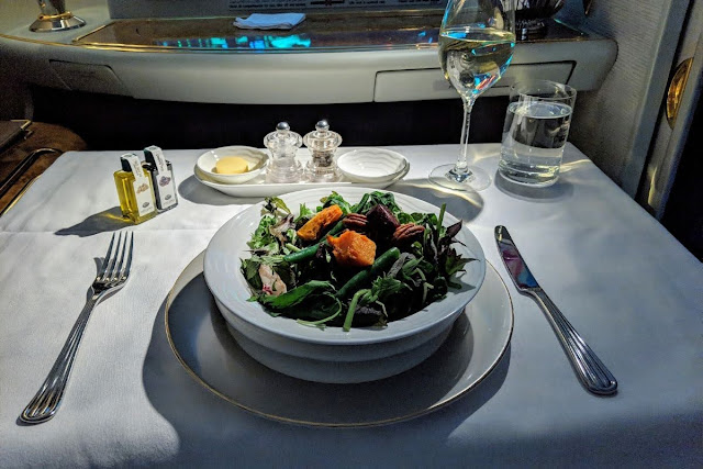 Salad from the Emirates First Class Menu