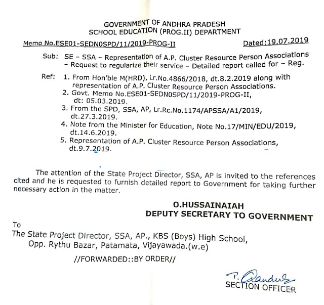 Representation of AP Cluster Resource Person Associates - Request to regularize their service /2019/07/representation-of-ap-cluster-resource-person-associates-request-to-regularise-their-service.html