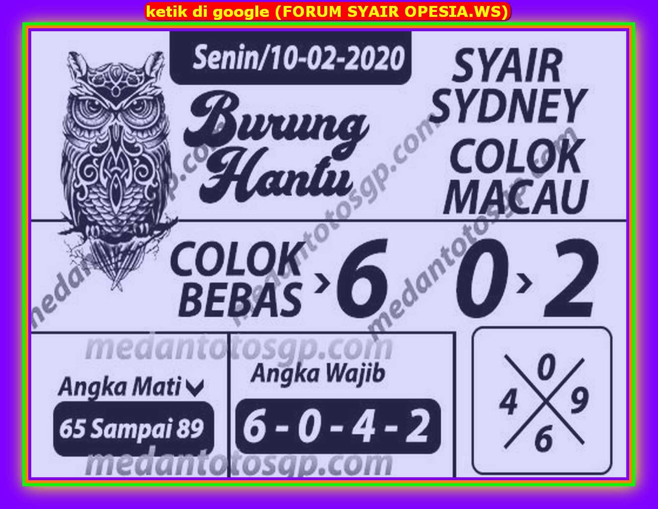 Kode syair Sydney Senin 10 Februari 2020 57