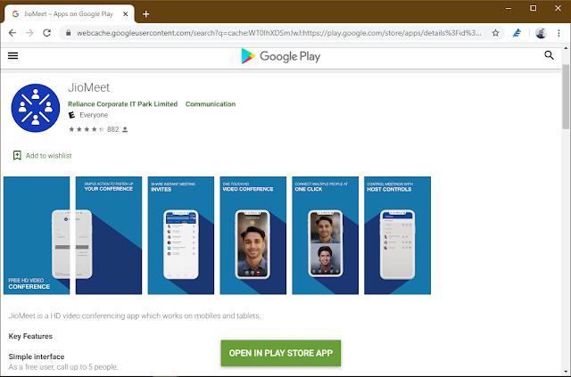 Google Play Listing of JioMeet