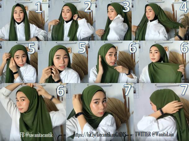 gambar tutorial cara memakai hijab jilbab ala selebgram