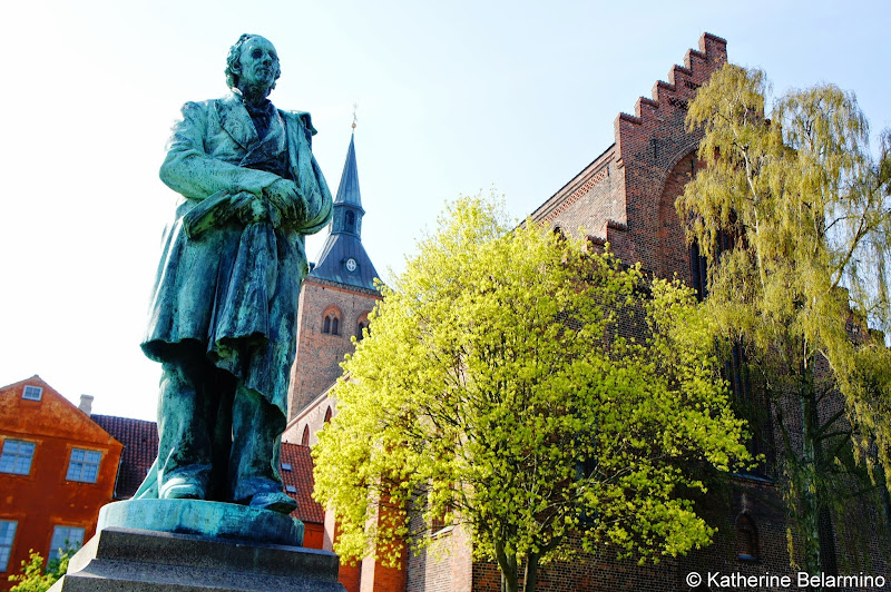 Statue of Hans Christian Andersen in HC Andersen Haven Odense Denmark