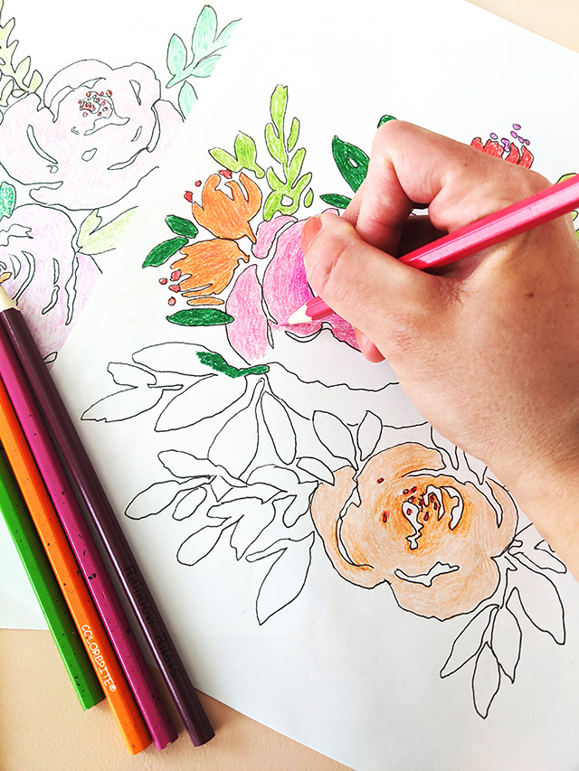 Free Floral Coloring Pages from Elise Engh Studios