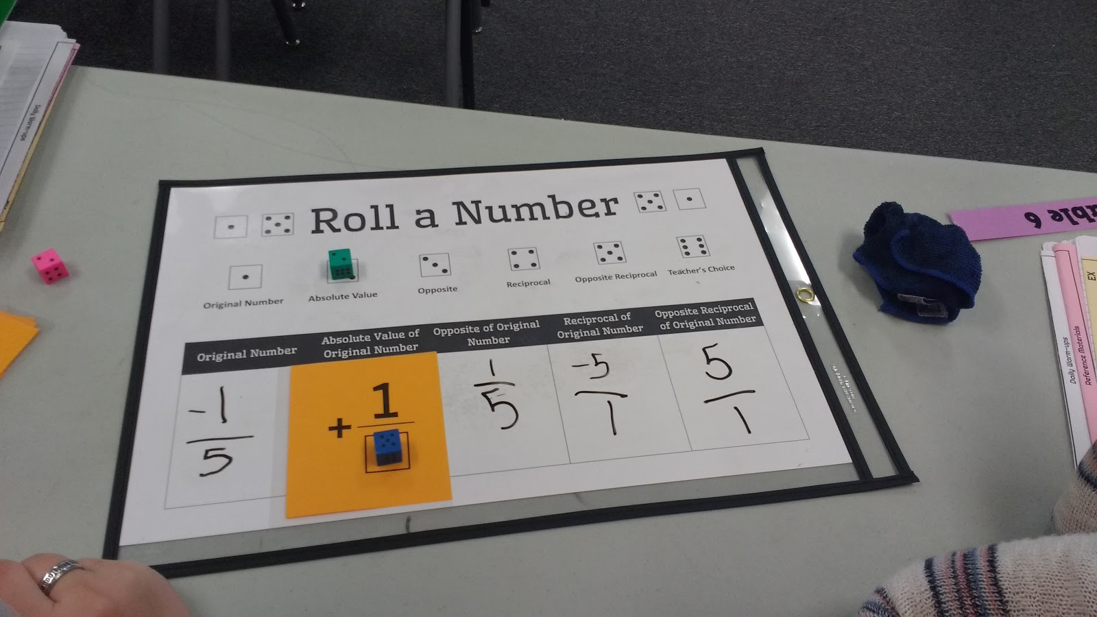 Math Love Roll A Number Dice Activity For Practicing Absolute Value Opposite Reciprocal