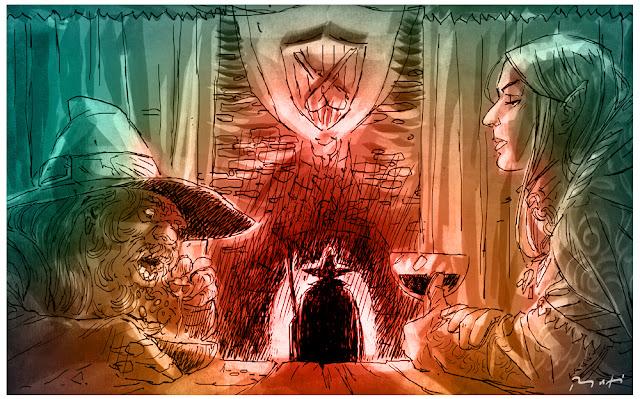 disegno di nano ed elfo e mago