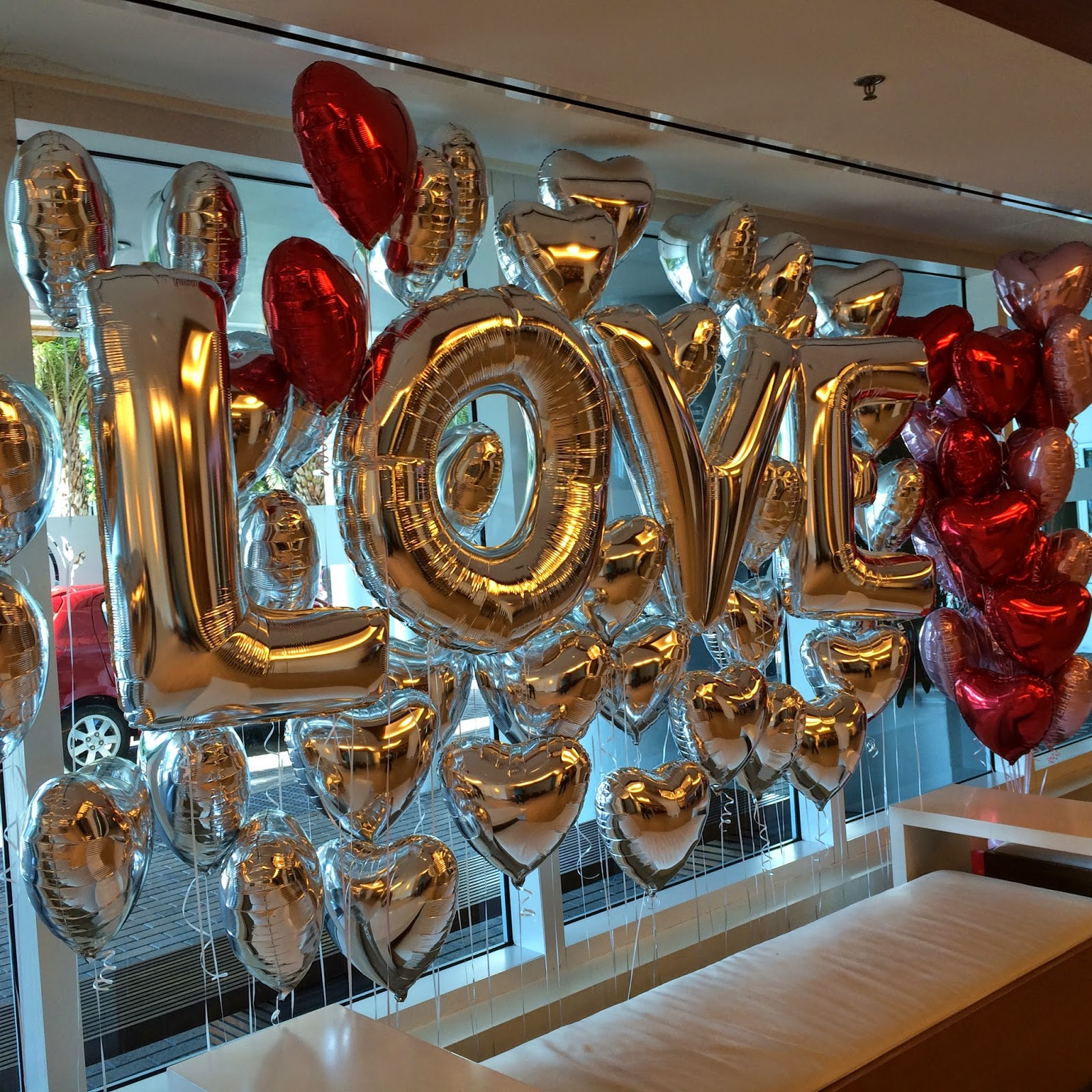 Love and hearts display for Valentine's Day