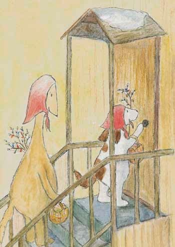 Postcard illustration of Hulmu Hukka and Haukku Spaniel trying to get candies a week before Easter