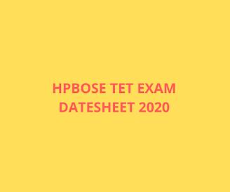 HPBOSE TET Exam Datesheet 2020