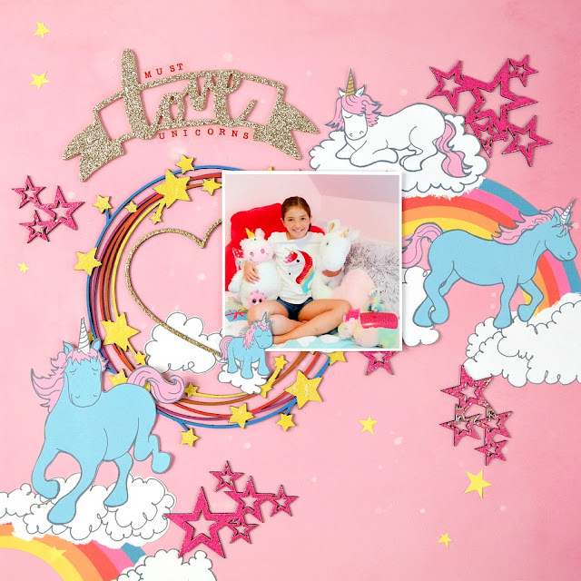 Pink Unicorn Scrapbook Layout with Glitter Rainbows and Stars